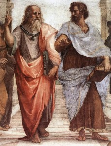 Aristotle and his student, Plato.